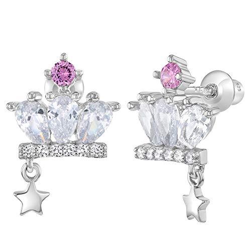 In Season Jewelry Mädchen - Schraubverschluss Ohrringe Krone Prinzessin 925 Sterling Silber Rosa Klar CZ Zirkonia (Silber Ohrringe Screwback)