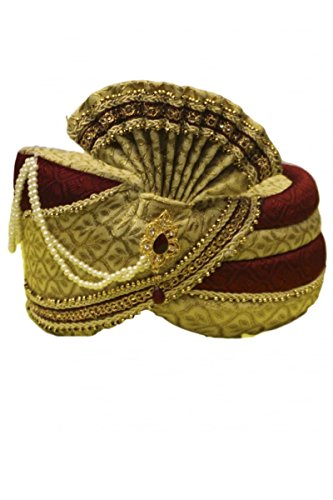MPG2106 Gold- und Maroon indische Turban / Paghdi Bollywood Fancy Dress 22