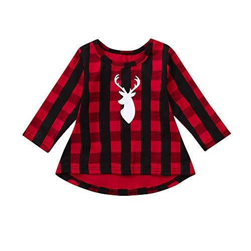 Riou Weihnachten Set Baby Kleidung Pullover Pyjama Outfits Set Familie Kleinkind Kind Kinder Baby Mädchen Weihnachten Plaid Deer Prinzessin Kleid Kleidung Outfit (90, Rot)