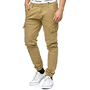Indicode Herren August Cargo Cargohose Pants Chino Hose Stoffhose aus Stretch-Material Regular Fit