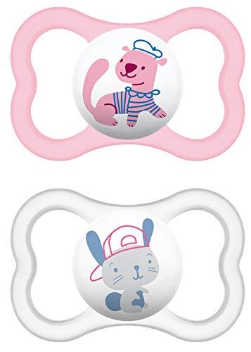 MAM Air Latex Schnuller im 2er-Set, extra leichtes und luftiges Schilddesign, Baby Schnuller aus Naturkautschuk mit Schnullerbox, 16+ Monate, rosa