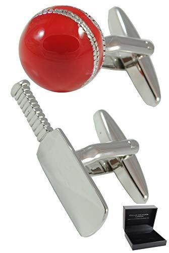 COLLAR AND CUFFS LONDON - Hochwertige Manschettenknöpfe mit Geschenk Box - Cricket-Schläger und Ball - Stilvolle Messing - Silber Farbe - Kapitän Cricket Schiedsrichter