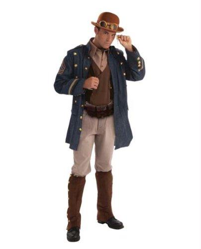 General Kostüm Steampunk - Mens Brown Steampunk General Fancy Dress Costume