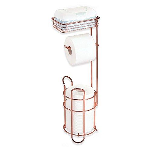 mDesign Klopapierhalter freistehend – stilvoller Toilettenpapierhalter aus Metall mit Ablage für Feuchttücher – mit praktischer Halterung für 2 Ersatzrollen – rotgoldfarben