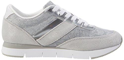 Calvin Klein Jeans Tea Metallic Jacquard/Suede, Sneakers Basses Femme Argent (Light Silver)