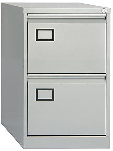 Office Hippo Bisley 2-Drawer Filing Cabinet - Goose Grey