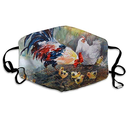 HUSDFS Mouth Maske Unisex Cock Hen Chicks Watercolor Art Chicken Family Anti Dust Lip Mask Mouth Face Mask