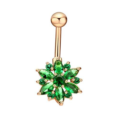 Eleery Blumen-Kristallrhinestones-Bauch-Nabel-Stab-Ring-Körper-Piercing bauchnabelpiercing (Golden Grün)