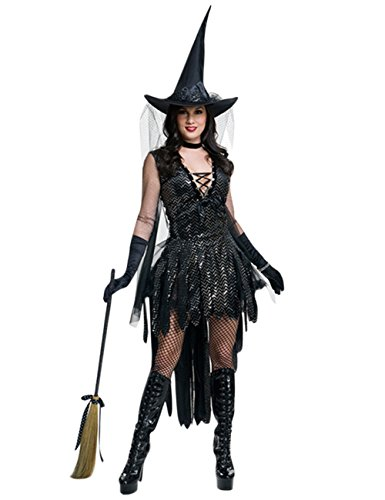 FairOnly Damen Cosplay Kostüm Magische Hexe Anzug für Make-up, Party, Halloween, stilvoller Performance-Anzug, As Shown/L, Large