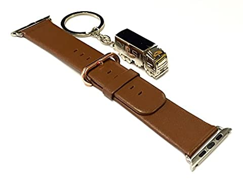 BSI 1pc 42mm Elegant Brown Leather Strap Band for Apple Smart Watch Simple Stainless Steel Rose Gold Plated Closure + Free Silver Metal Truck Keychain with BSI(TM) LOGO