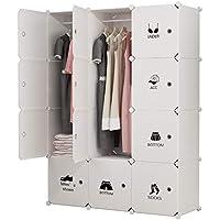 Preisvergleich für Koossy Erweiterbares Kleiderschrank Regalsystem für Kinderzimmer Wohnzimmer und Schlafzimmer (Weiß, 12 Cube)