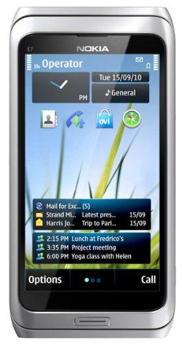 Nokia E7-00 Smartphone (10,2 cm (4 Zoll) AMOLED-Display, 8 Megapixel Kamera, HSDPA, QWERTY) silber/weiß