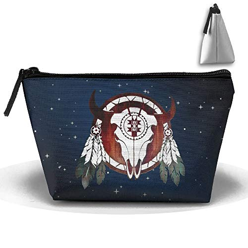 Native American Buffalo Skull Arrowhead Indian Trapezoid Receive Bag Cosmetic Bag Home Office Travel Camping Sport Gym Outdoor -