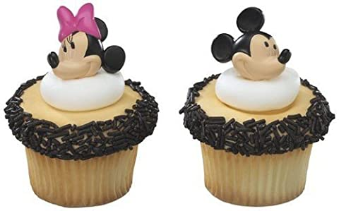 DecoPac Minnie and Mickey Mouse 24-Piece Decorative Cake Cupcake Ring Toppers, Pink/Black