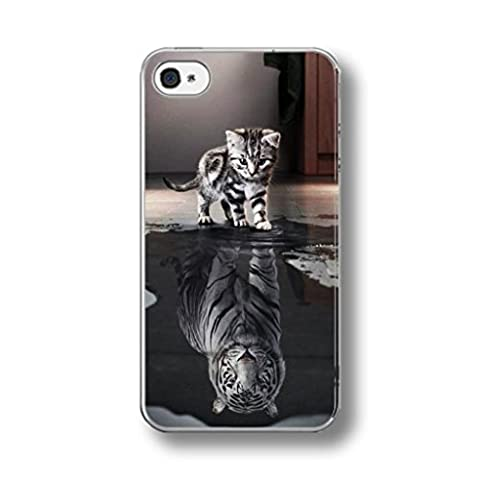 CAT VS WHITE TIGER REFLECTION RUBBER PHONE CASE COVER for IPHONE 5/5s
