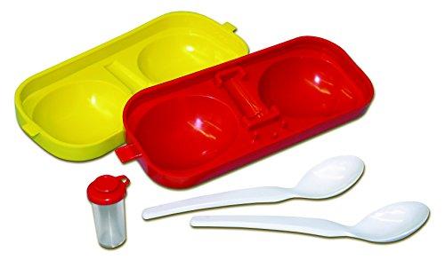 Maulwurfshop Eierbehälter Eierträger Eierbox 2-Fach mit Salzstreuer und Löffel rot/gelb Perfekter Picknick Begleiter DDR Ostalgie