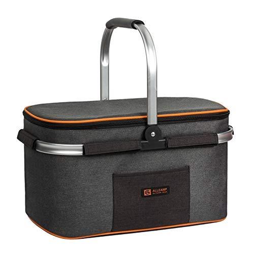 ALLCAMP OUTDOOR GEAR Allcomp Picknick-Körbe für den Außenbereich, 22 l Englisch Dunkelgrau mit Orange
