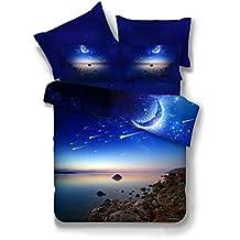 Fuya 3d Galaxy ropa de cama doble tamaño exterior espacio casa textil tela poliéster 3/4piezas funda de edredón de conjuntos, 3d Galaxy ropa de cama 6colores, poliéster, 015, Matrimonio doble