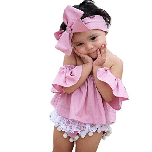 estyi Kleinkind Kinder Baby Mädchen Niedlich Einfarbig Rüsche T-Shirt Oberteile Sommer  Kleider Outfits Minikleid Tops Blusen (2-3T/90CM, Rosa) (Polizei Kleidung Für Kinder)