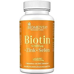 BIOMENTA BIOTIN HOCHDOSIERT 12.500 mcg + ZINK + SELEN | 365 Biotin Tabletten VEGAN | Haarwuchsmittel für Bart + Haarwuchs, bei Haarausfall | Anti Pickel Tabletten gegen unreine Haut | Schöne Nägel