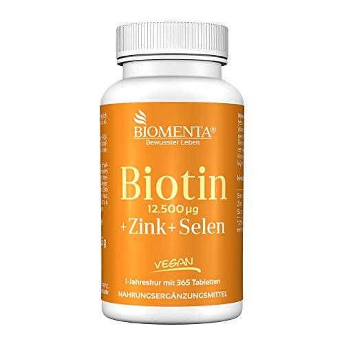 BIOMENTA BIOTIN HOCHDOSIERT 12.500 mcg + ZINK + SELEN | AKTION!!! | 365 Biotin Tabletten VEGAN | Haarwuchsmittel für Bart + Haarwuchs, bei Haarausfall | Anti Pickel Tabletten gegen unreine Haut