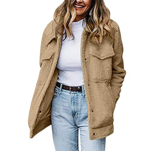 Allegorly Damen Casual Mantel Faux Für Revers Lange Ärmel Outwear Vordere Leistentaschen Zweireihig Coat Einfarbig Lose Übergangjacken Winter Warm Pullover Mit Tasche