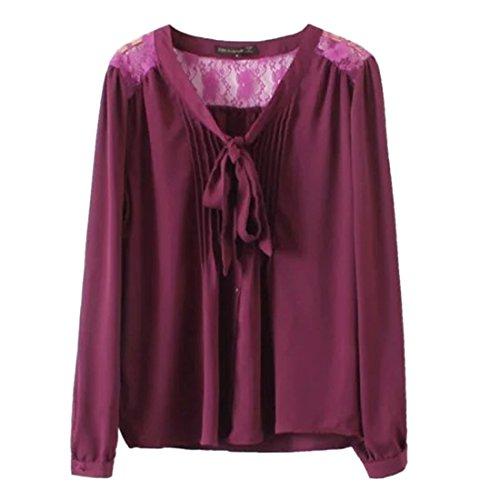 QIYUN.Z Donne Pizzo Splicing Nodo A Farfalla Camicia Maniche Lunghe Di Moda Di Colore Solido Borgogna
