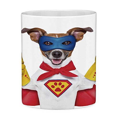 Hunde Von Kostüm Bilder Niedlichen - Rongpona Lustige Kaffeetasse mit Zitat-Superhelden-11-Unzen-lustiger Kaffeetasse-Superhelden-Hund im Kap-und Masken-Kostüm-Spaß-lustigen niedlichen Bild-dekorativen roten gelben Königsblau