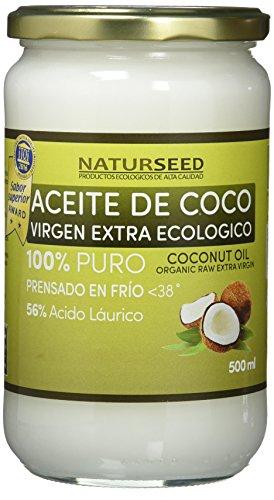NAturseed Aceite de Coco puro Orgánico Virgen Extra 1000ml, Gratis Ebook Con Recetas, Extracción En Frío, Fuente De Energía Natural Para Deportistas, Suplemento Alimenticio, Para Cocinar Para El Pelo