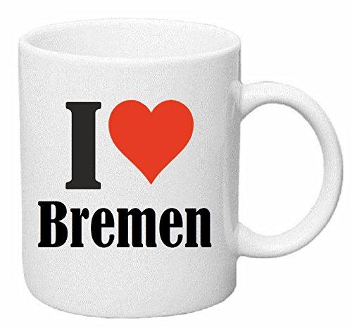 Reifen-Markt Kaffeetasse I Love Bremen Keramik Höhe 9,5cm ? 8cm in Weiß