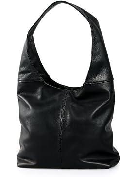 Italienische Ledertasche Nappa Shopper Schultertasche mittelgroß lässiges Design schwarz , 37x30x13 cm (B x H...