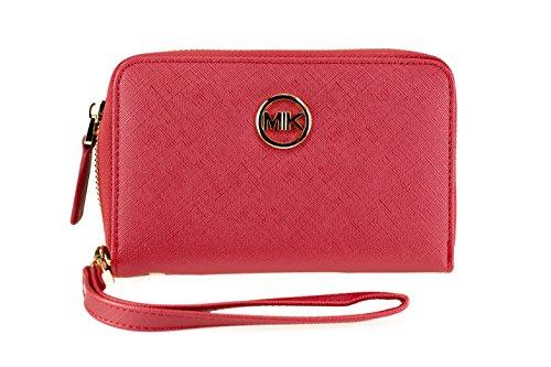 MIK Damen Geldbörse, Trendy Elegant Kunstleder Portemonnaie Geldbeutel und Handytasche in Einem (Soft Red)