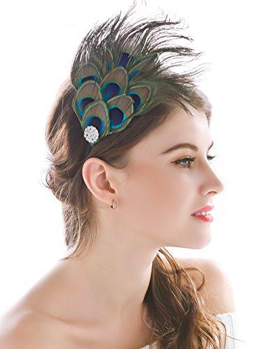handcess Pfauenfeder-Haarreif, handgefertigt, mit Strassbesatz, Boho-Stil, Hippie-Accessoire, für Damen und Mädchen