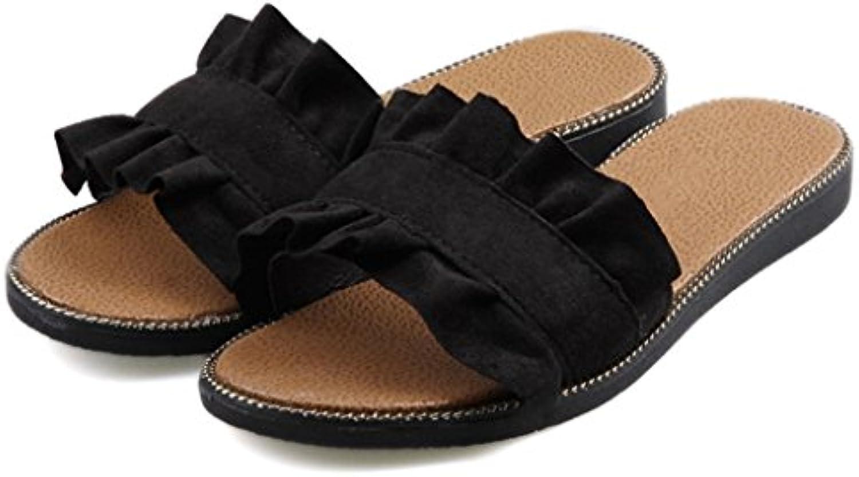 YAnFAn & Sandalias Sandalia Slip-On para Mujer con Estilo Zapato Plano De Tacón En Verano para IR De Compras Y...