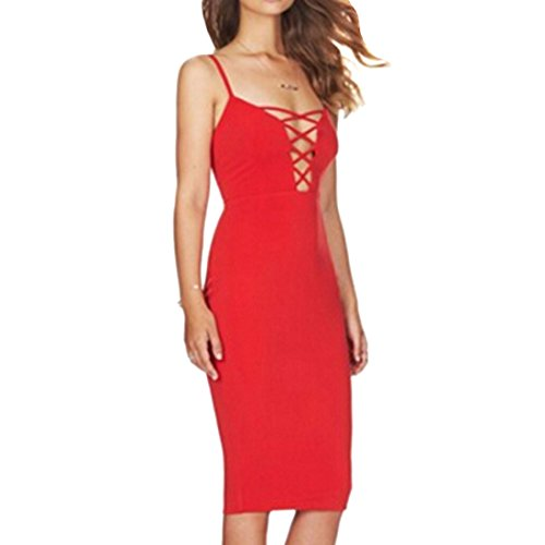 QIYUN.Z Les Femmes Licol Cou Tortiller Sexy Lacets Bodycon Robes Club Sans Manches Parti Rouge