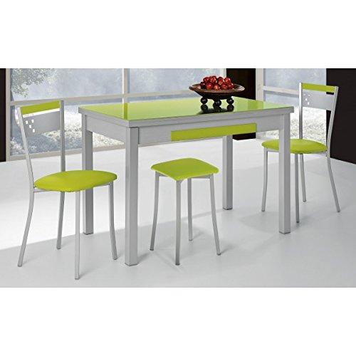 SHIITO Mesa de Cocina 90x50 cm Extensible con cubertero y Tapa en ...