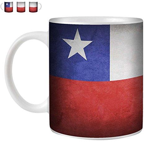 STUFF4 Tee/Kaffee Becher 350ml/Chile/Chiliean/Weinlese-Flaggen/Weißkeramik/ST10