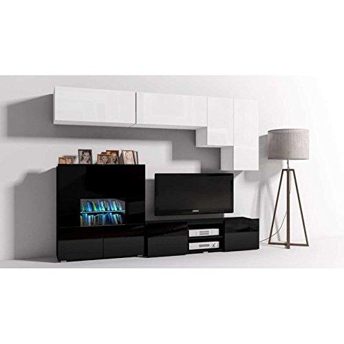 JUSThome Onyx X C LED Wohnwand Anbauwand Schrankwand Weiß Matt   Schwarz Hochglanz - 2