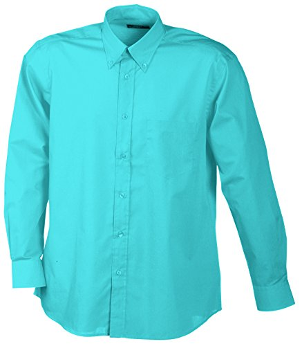 James & Nicholson Herren Sporthemd Men's Promotion Shirt Long-Sleeved, Türkis (Turquoise), Medium