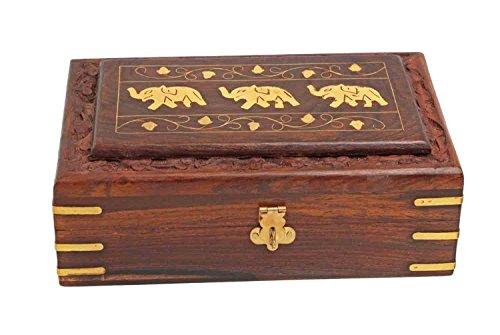 IndiaBigShop handgemachte hölzerne Schmuckschatulle Ohrring Box Vintage Box Andenken Speicherorganisator mit dreifachem Elefant Inlay braun Farbe 8 X 5 Zoll