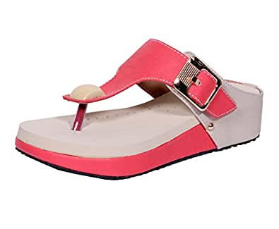 Indistar Womens Fashionable & Stylish Party Wear Casual and Formal Flats/Flip Flop for Women-Cream/Pink-Size-10