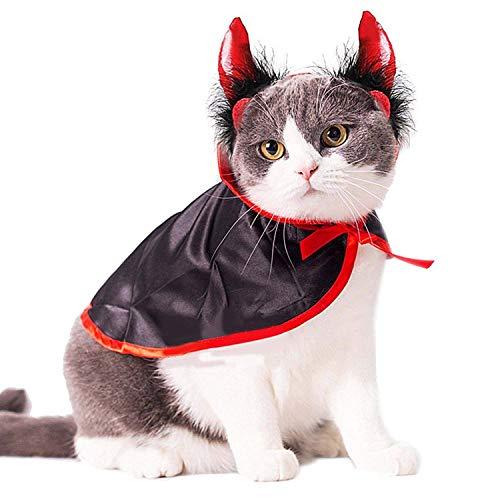 XZANTE Katze Kostuem Weihnachten Haustier Kostueme Katze Umhang & Hut Haustier Cape Katze Halloween-Kostuem Haustier-Kleid Fuer Kleine Hunde Und Katzen