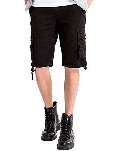 Outdoor Kurze Hose Vintage Tunnelzug 100% Baumwolle mit Multi-Taschen,Schwarz,30 (Homme En Costume De Bain)