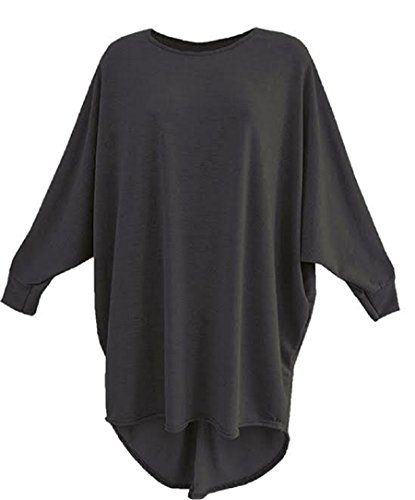 Neue Damen Damen Long Sleeve Schleife Rückseite mit Batwing Baggy Top. UK 8–26 Anthrazit