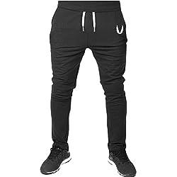 Chándal de hombre Moda Pantalones de chándal Ropa deportiva Pantalones Jogger Hombre Deportivos Joggers Running Yoga Pantalones Deportes Pantalones de correr fitness casual Amlaiworld (Negro, XL)