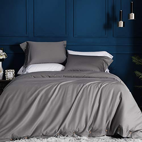 JELLYMONI Bettwäsche-Set aus 100% ägyptischer Baumwolle, für Doppelbetten, Queen, King-Size, luxuriöses weiches Bettwäsche-Set. (Bettdeckenbezug und Kissenbezüge), ohne Tröster Twin(68''x90'') grau -