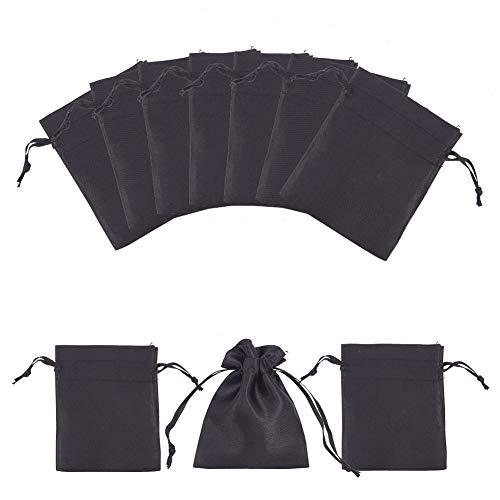 PandaHall 50pcs schwarzer Satin-Geschenk-Beutel Drawstring-Beutel-Hochzeits-Bevorzugungs-Brautparty-Süßigkeit-Schmuck-Beutel, 3