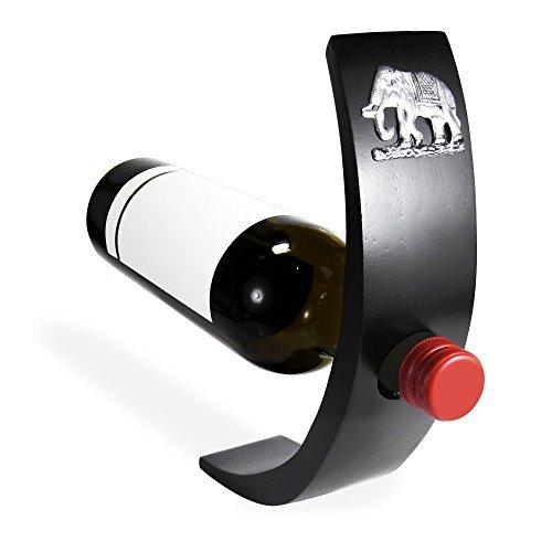 Elefant Mango Holz Balancing Weinflaschenhalter Zinn verziert - Verzauberung Holz