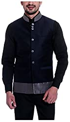 Tag 7 Threads Mens Silk Ethnic Jacket (JJ156, Navy Blue, 38)