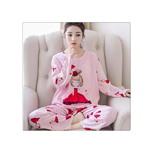 2019 Women Pajamas Sets Spring Summer Long Sleeve Thin Print Cute Sleepwear Big Girl 2pcs Pijamas Mujer Leisure Student Pajama 22 L